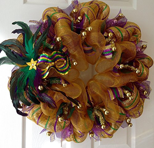 Mardi Gras Wreath Sequin Mask With Feathers Handmade Deco Mesh Wreath