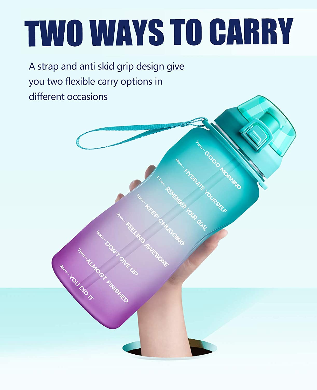 Fidus Large Half Gallon/64oz Motivational Water Bottle with Time Marker & Straw, Leakproof Tritan BPA Free Water Jug, Ensure You Drink Enough Water Daily for Fitness, Gym and Outdoor Sports : Sports & Outdoors