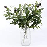 OurWarm 10pcs Olive Tree Branches Artificial Olive Plant Branches Fruits Silk Olive Leaves Decor for Home Garden Office…