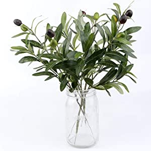 """OurWarm 10pcs Olive Tree Branches Artificial Olive Plant Branches Fruits Silk Olive Leaves Decor for Home Garden Office Wedding Greenery Decorations, 12"""" Tall"""