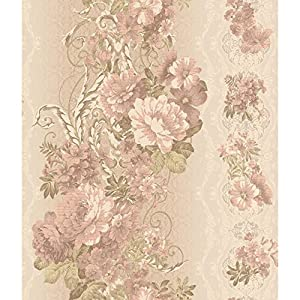 York Wallcoverings AR7719 Charleston Floral Stripe Wallpaper Beige Satin Pale Pink Cream