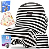 Baby Car Seat Cover Canopy, Nursing Cover\ Breastfeeding Cover, Shopping Cart Cover \ high Chair Cover - 4 IN 1 - Unisex - Black and White - rayon - 2 free bonus And Carrying Case. By Baby Sharvit offers