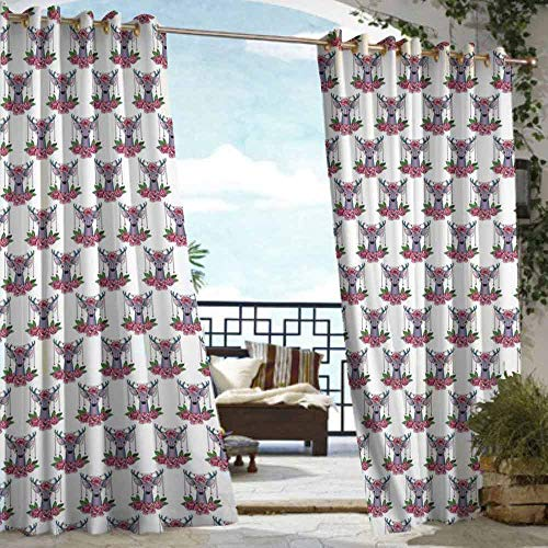 DILITECK Pergola Curtain Tattoo Deer Heads with Accessories Hanging from Its Antlers and Pink Peony Flowers Waterproof Patio Door Panel W96 xL72 Mauve Coral Green ()