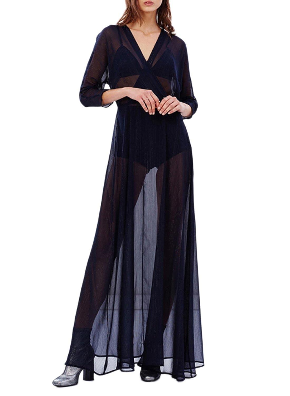 Azbro Mujer Vestido Maxi de Fiesta Malla Semi-transparente de Cuello V, negro XL: Amazon.es: Ropa y accesorios