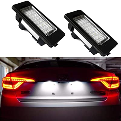 Car License Plate LED Lights 24-3528-SMD Lamp Assembly for Audi A1 A4 A5 A6 A7 Q5 S5 RS5 TTRS TT ALLROAD Error Free 3W 18 Led White License Plate 2-pack: Automotive
