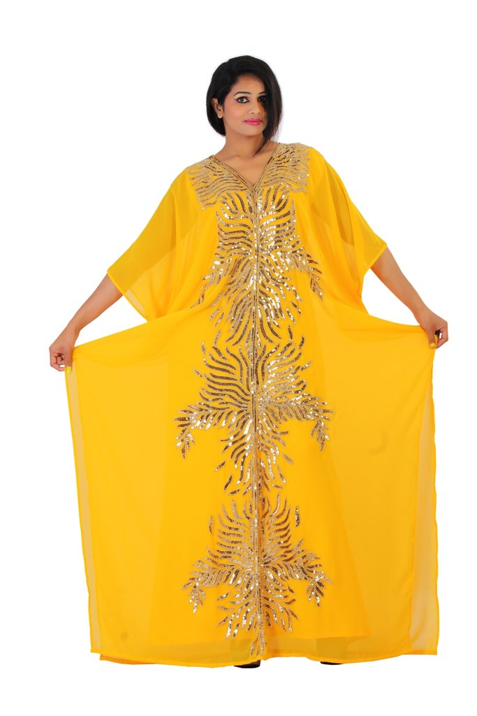 Dubai Very Fancy Kaftan Luxury Crystal Beaded Caftan Abaya Wedding Dress (XXXXL Yellow)
