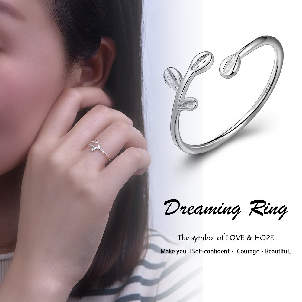 Long Way Ring, 925 Sterling Silver Adjustable Leaf Open ring Fine Jewelry for Women, Best Gift for Mother Wife Girlfriend at Christmas Birthday by Long Way (Image #2)