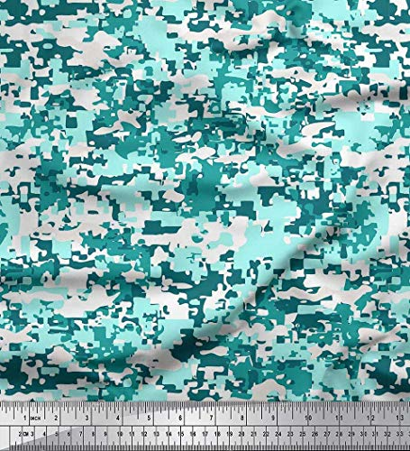 Soimoi White Modal Satin Fabric Two Tone Camouflage Decor Fabric Printed BTY 42 Inch Wide -