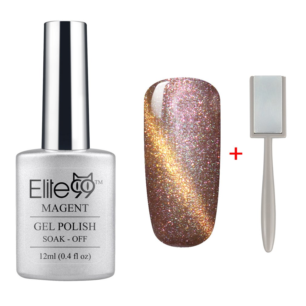 Elite99 3D Nail Gel Polish Magnetic Cat Eye Color 12ml Soak Off UV LED Pearl Rose Gold with Gold Eye(9911) + Free Gift (Magnet Stick) BAILUN