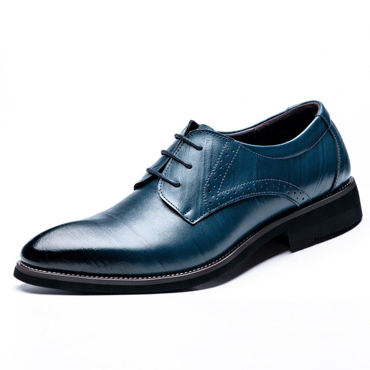 LEDLFIE Zapatos De Hombre Zapatos De Cuero De Negocios Multicolores Hombres Consejos Cordones Zapatos De Cuero Genuino 41 EU|Blue