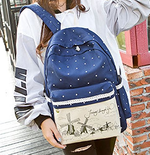 Tibes casuale scuola tela di canapa zaino da viaggio + Borsa a tracolla + borsa per le ragazze adolescenti Profondo blu
