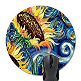 Wknoon Abstract Navy Blue Starry Night and Yellow Sunflowers Print Artwork Round Mouse Pad
