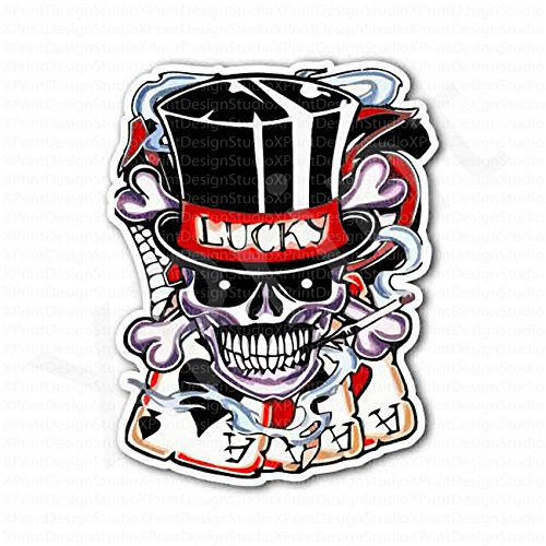 Lucky Skull Four Aces Sticker