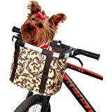 ANZOME Bike Basket, Folding Small Pet Cat Dog Carrier Front Removable Bicycle Handlebar Basket Quick Release Easy Install Detachable Cycling Bag Mountain Picnic Shopping- Brown