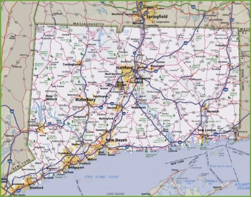 Connecticut Map - CONNECTICUT ROAD MAP GLOSSY POSTER PICTURE PHOTO city county state ct usa