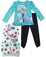 Disney Infant Toddler Girl Frozen Elsa 3 PC Outfit Shirt Leggings Hoodie Vest