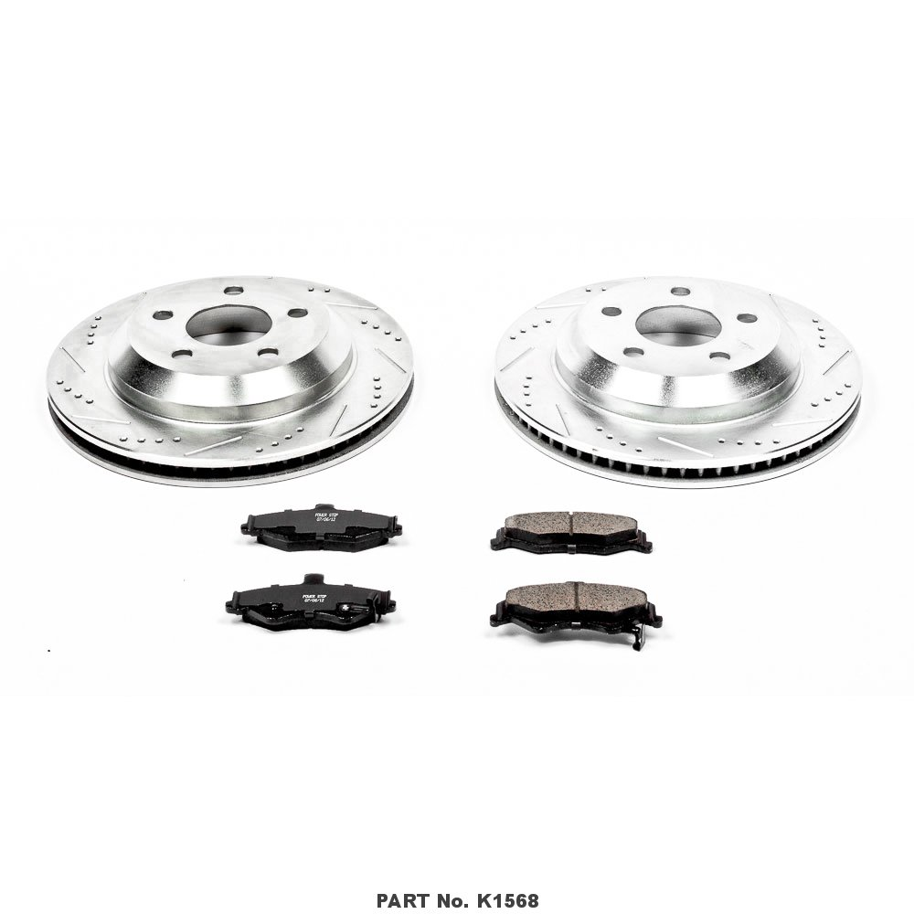 Power Stop K1568 Rear Z23 Evolution Brake Kit with Drilled//Slotted Rotors and Ceramic Brake Pads