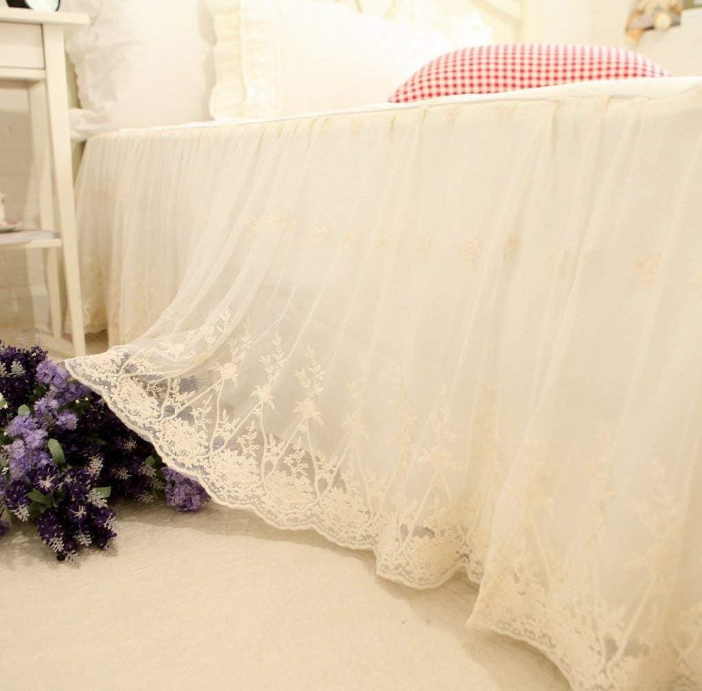 Brandream Full Size Luxury White Lace Bed Skirt 18 Inch Drop Ivory Romantic Girls Bed Cover Sheets Elegant Teen Skirted Sheet