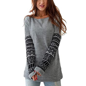MIOIM® Moda Mujeres Camiseta Manga Largo de Impreso Tops Blusas T-shirt Otoño