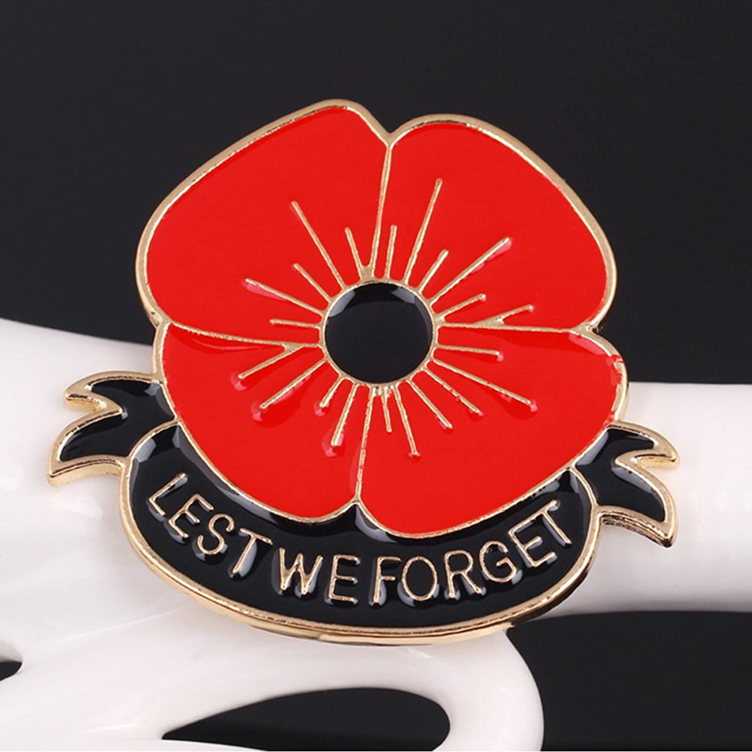 amazon com lest we forget poppy brooch pin flower broach memorial