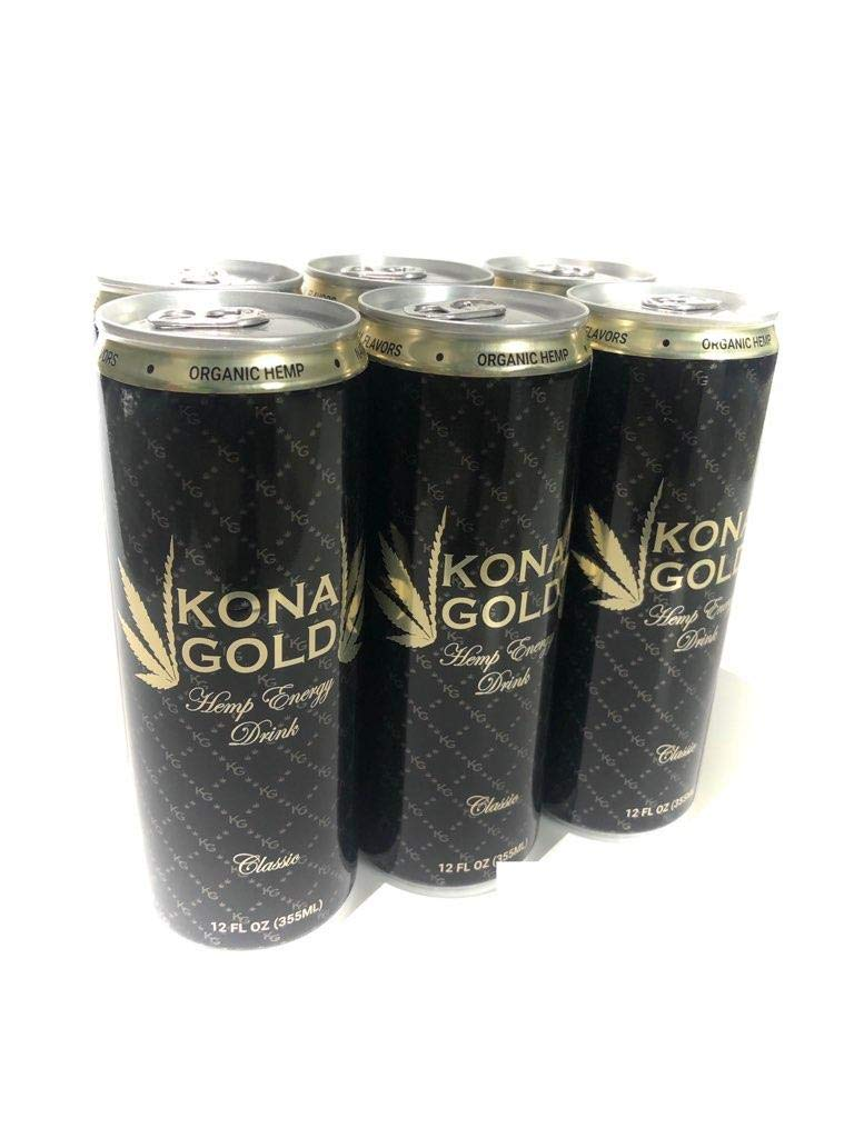 Kona Gold Hemp Energy Drink, Classic, 12 FL OZ, (Pack of 6)
