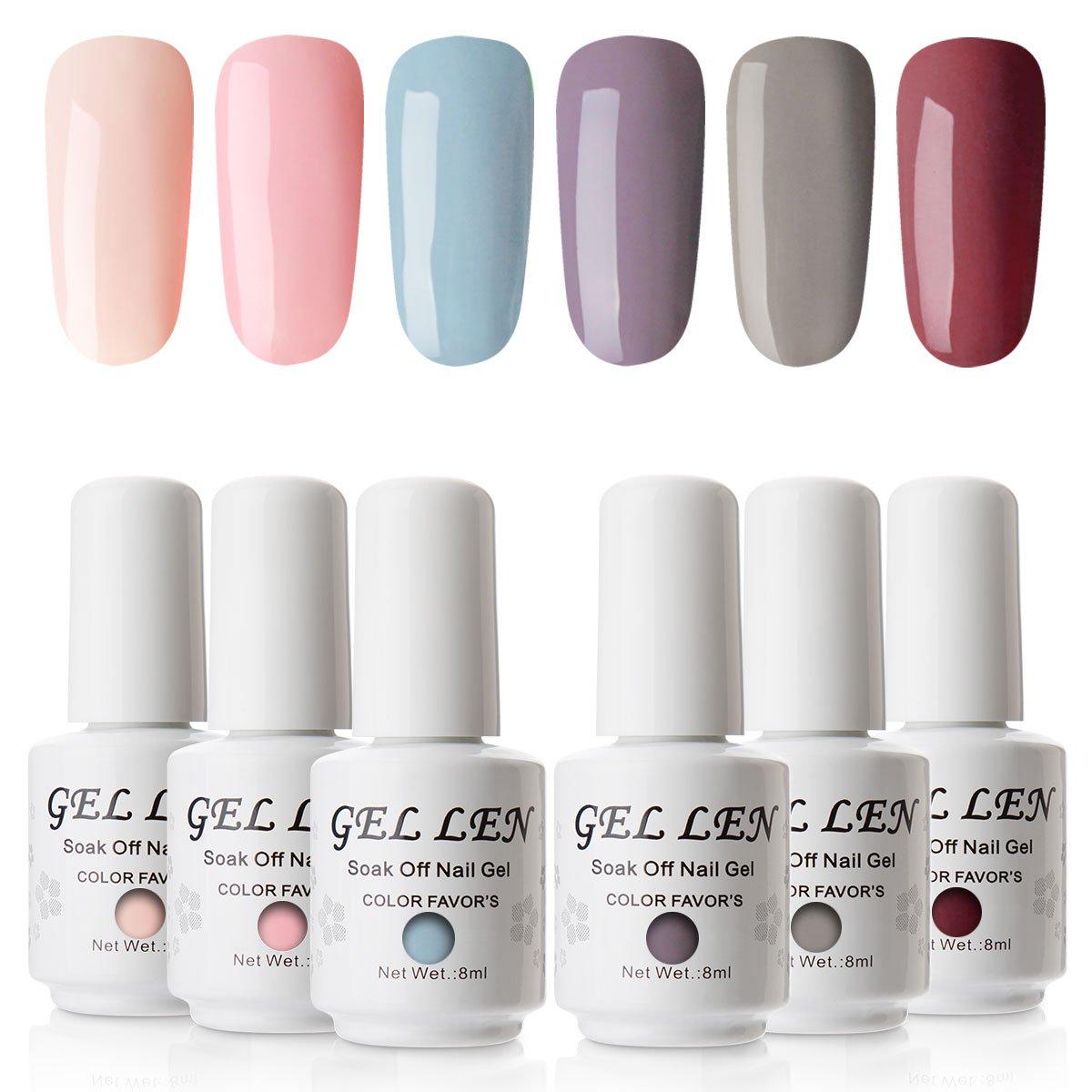 Gellen Nude Colour Gel Polish Kit - 8ml 6 Colours Gel Nail Polish UV LED Soak off Manicure Gel Lacquer Set Ltd.
