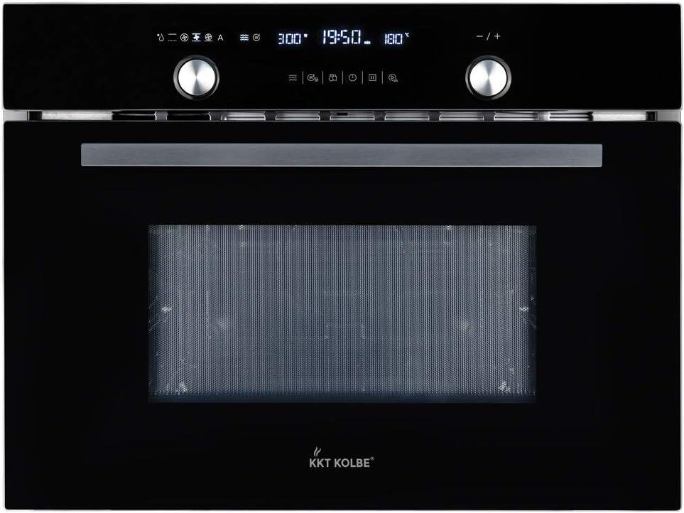Microondas con Forno y Grill (60cm, 3,35kW, 44l, autosuficiente, aire caliente 3D, parrilla, tacto, acero inoxidable y cristal, pantalla LCD, cerradura para niños, 3 niveles) EBM4502S - KKT KOLBE