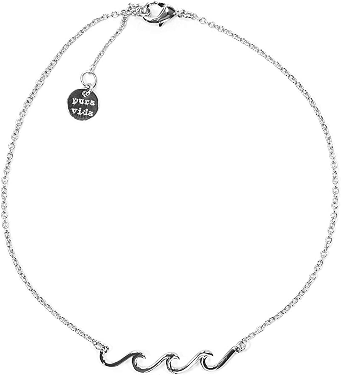 Cable Chain Pura Vida Silver or Gold or Rose Gold Plated Delicate Wave Anklet Charm Adjustable Band