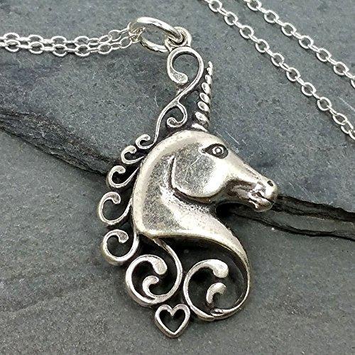 (Unicorn Head Necklace - 925 Sterling Silver)