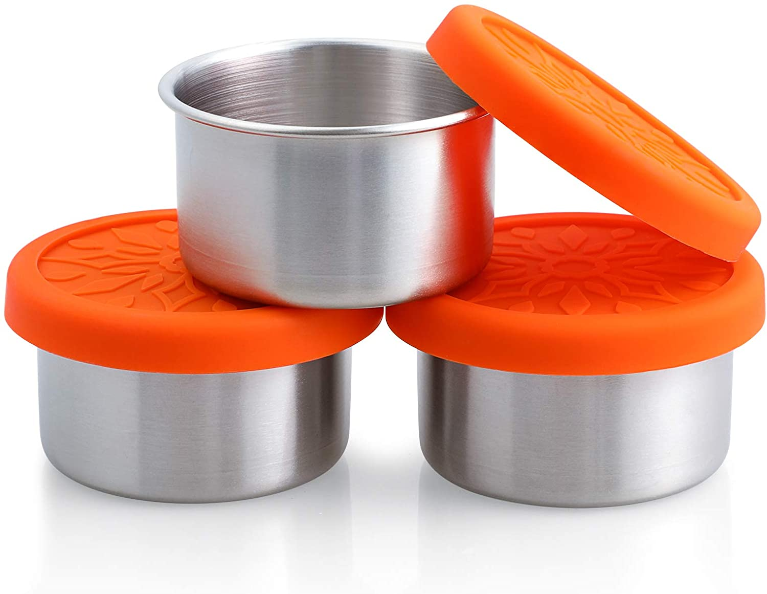 SUKKI Stainless Steel Condiment Containers - 3 x 3.4oz Salad Dressing Containers with Food Grade and Leakproof Silicone Lids - for Snacks, Desserts, Souffle, Baby Food
