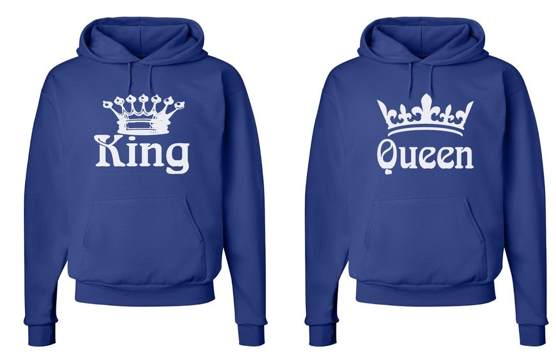 FASCIINO Matching His & Hers Couple Hooded Sweatshirt Set - King and Queen (White)
