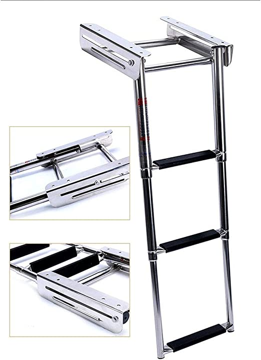 HYDT Escalera de Barco telescópica Multiusos de 1,25 pies con peldaño Antideslizante, Escalera de pontón Profesional for natación, pontón, 3 peldaños: Amazon.es: Hogar