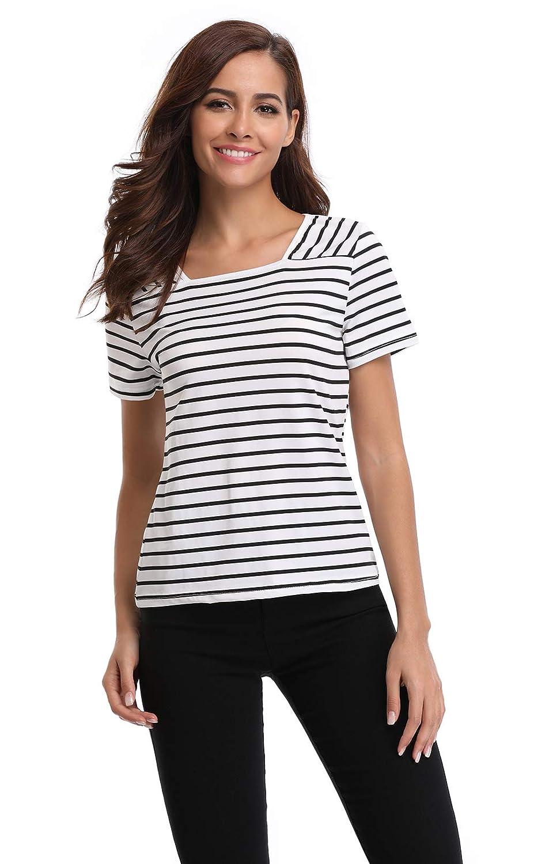 51ab4514a8c Amazon.com  Peiqi Women s Striped Shirt Short Sleeve Square Neck Summer Tops  Casual T-Shirt Blouse  Clothing