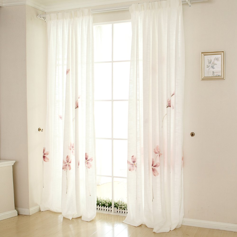 Melodieux Floral Sheer Window Treatment Rod Pocket Voile Curtains