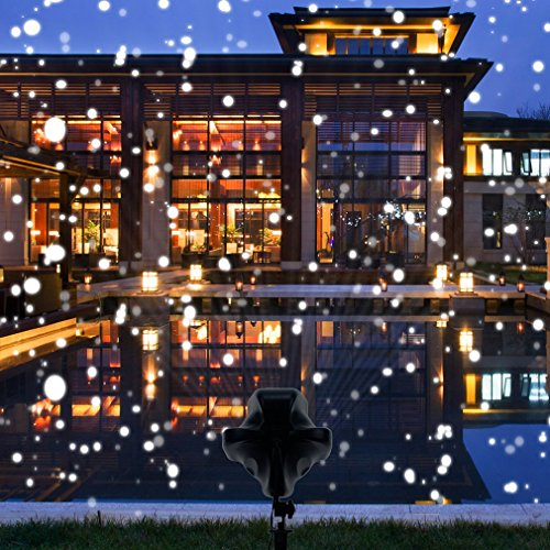 Snowfall Outdoor Led Christmas Lights Displays Projector Show Waterproof Rotating Projection Snowflake Lamp with Wireless Remote for Xmas Halloween Party Wedding and Garden Decorations by BEIYI HOME-US (Image #3)