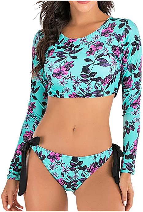 Women Long Sleeve Floral Print Bandage Summer Beach Swimsuits Bathing Suit 2pc
