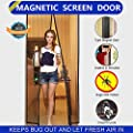 "Aloudy Hands Free Bug Off Magnetic Screen Door, Instant Mesh Curtain Fits Door Openings up to 36""x82"" MAX Black from Aloudy Life"