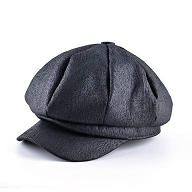 Black Artificial Leather Beret For Men Everyday Style Solid Flat Caps Vintage
