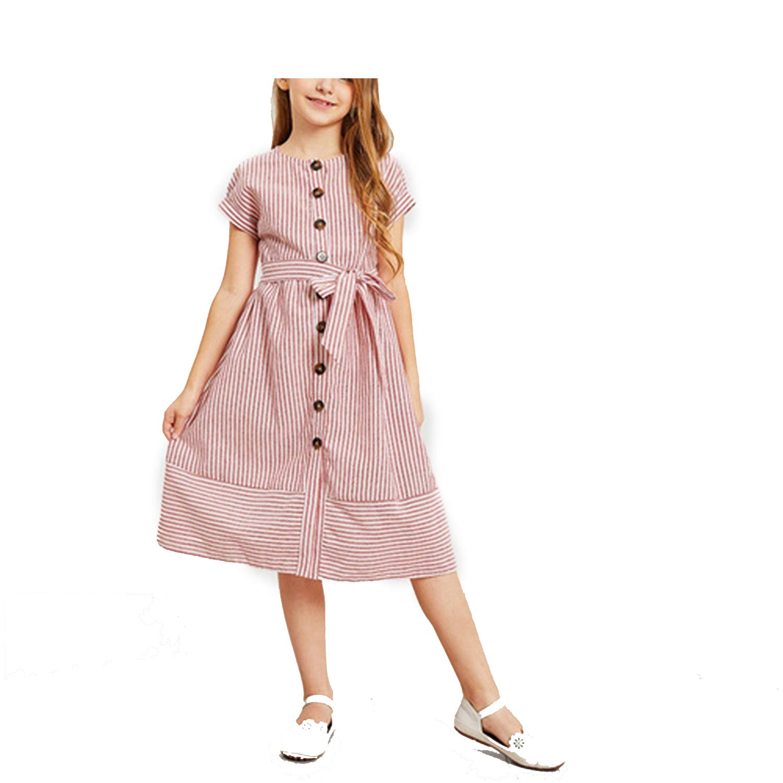 Amazoncom Momo Pink Button Up Belted Striped Elegant Shirt