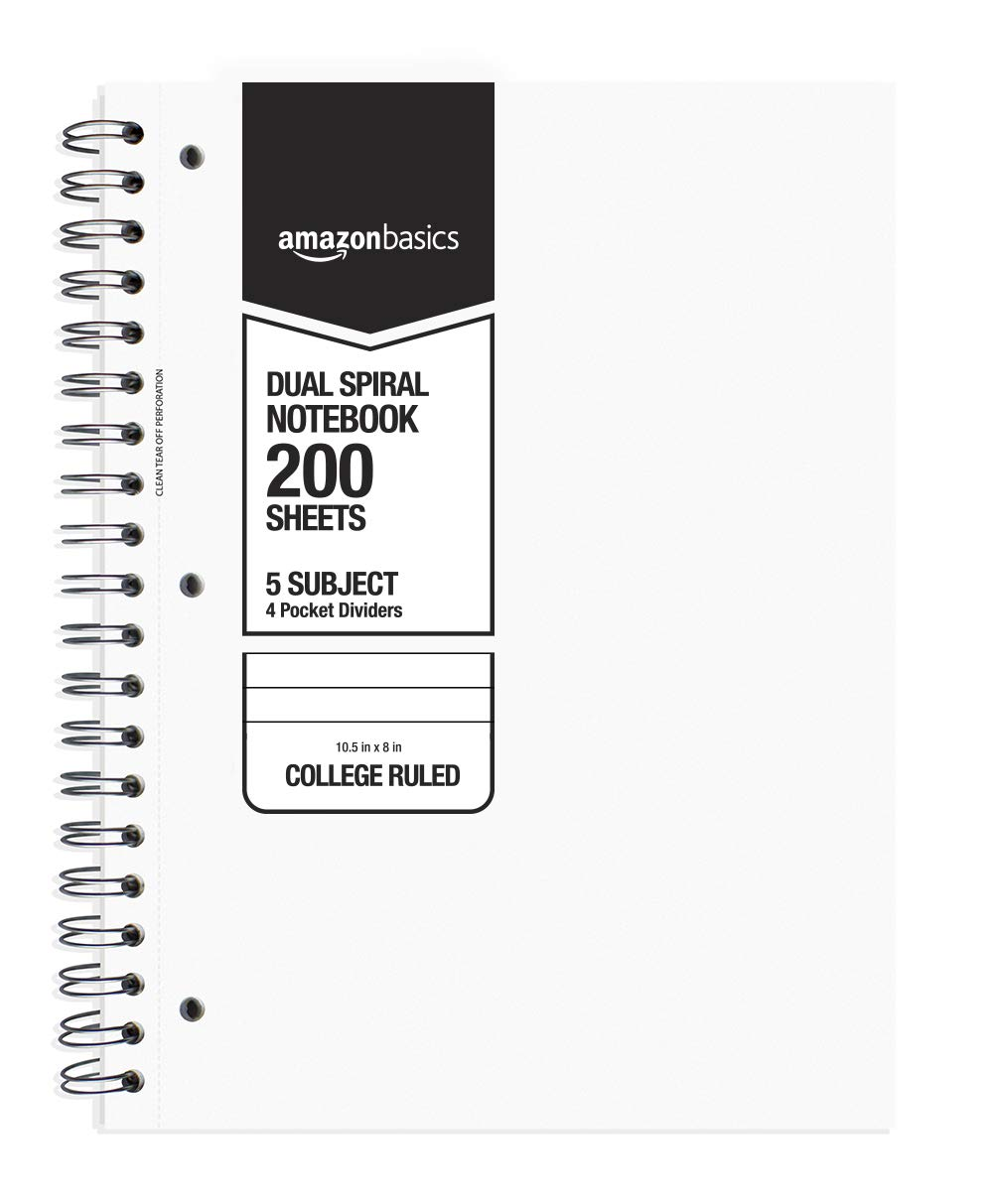AmazonBasics College Ruled Wirebound 5-Subject 200-Sheet Notebook with Pocket Divider - Pack of 2, 10.5 x 8 Inch, Black and White