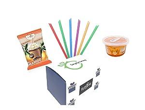 Fusion Select Ultimate Mango Bursting Boba Bubble Tea DIY Kit – 3-in-1 Bubble Tea Powder, Mango Flavored Popping Bursting Boba, Large Straw Asmr Food (Mango Powder+Mango Bursting Boba+Straw)