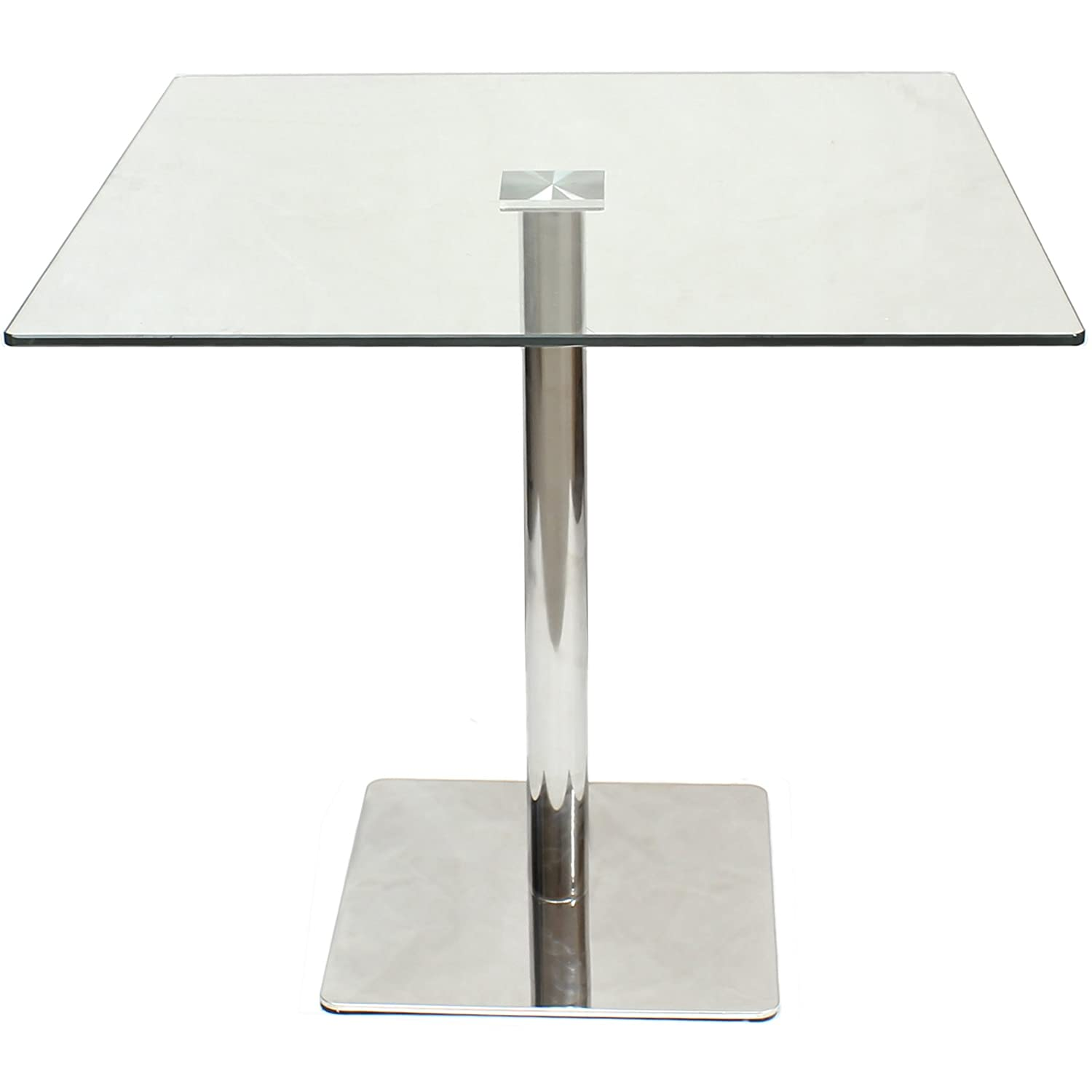 Hartleys Large 80cm Square Glass Top Dining/Bistro Table