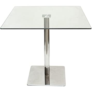Marvelous Hartleys Large 80cm Square Glass Top Dining/Bistro Table