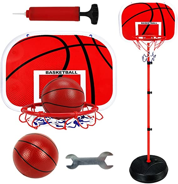 Portable Basketball Hoop Stand Backboard System Height Adjustable Kids Basketball Goal for Youth Teenagers Indoor Outdoor Basketball Playing Training Shooting