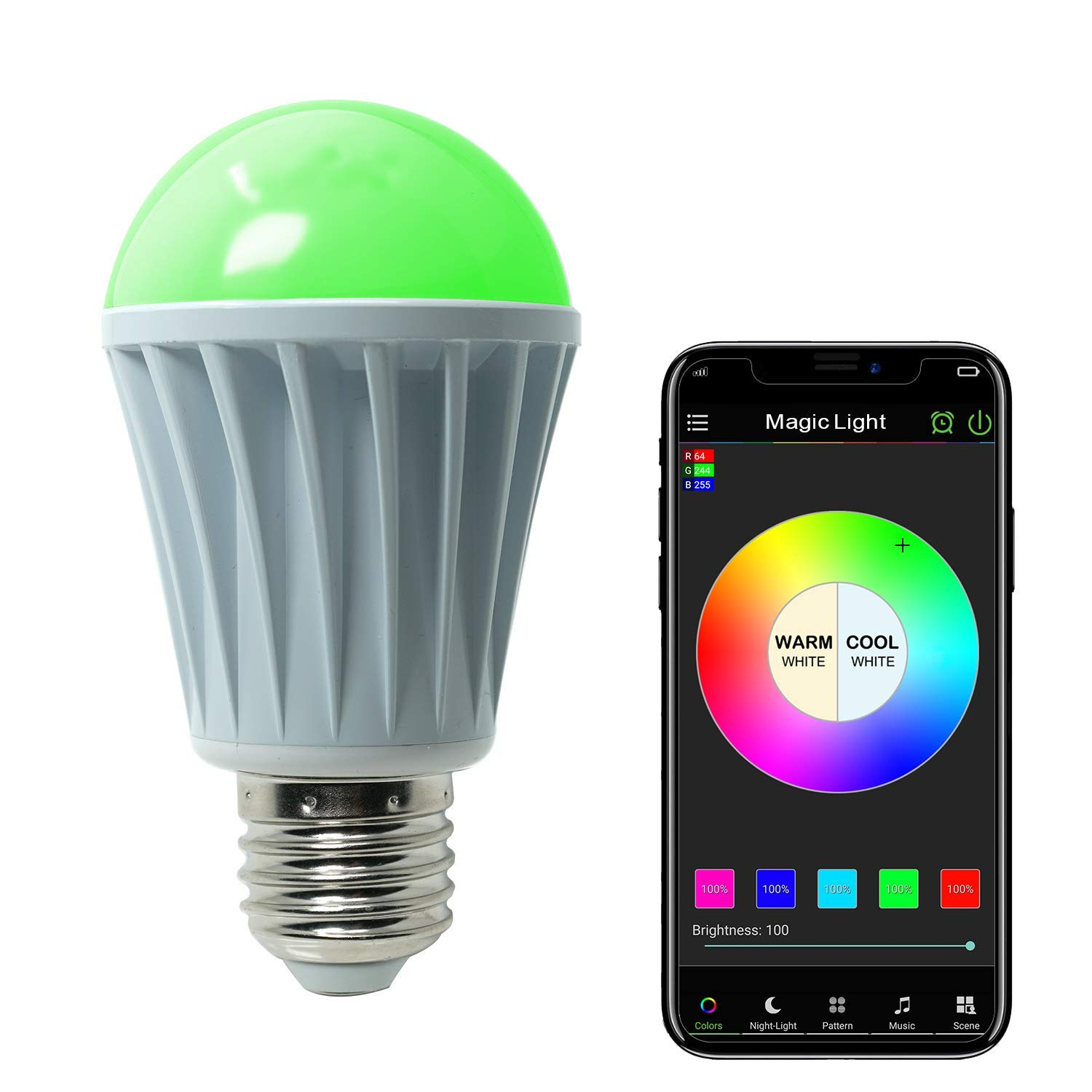 MagicLight WiFi Controlled LED Sunrise Wake Up Lights - 60w Equivalent Dimmable Multicolored Full Spectrum Bulb - Compatible with Alexa & Google Home Assistant
