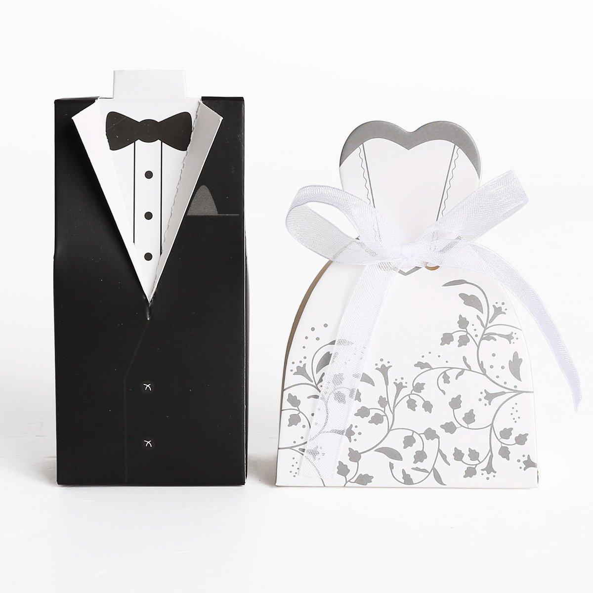 Amazon.com: Wedding Favour Boxes, Lance Home 100PCS/50 Pairs Wedding ...