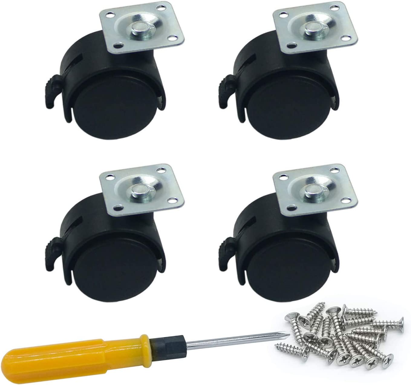 4 Piece Nylon Swivel Plate Caster for Furniture & Equipment Racks Brake Wheel (1.5 Inch Black)