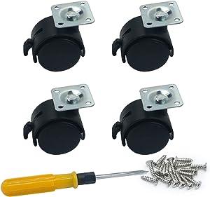 4 Piece Nylon Swivel Plate Caster for Furniture & Equipment Racks Brake Wheel (1.5 Inch Black)