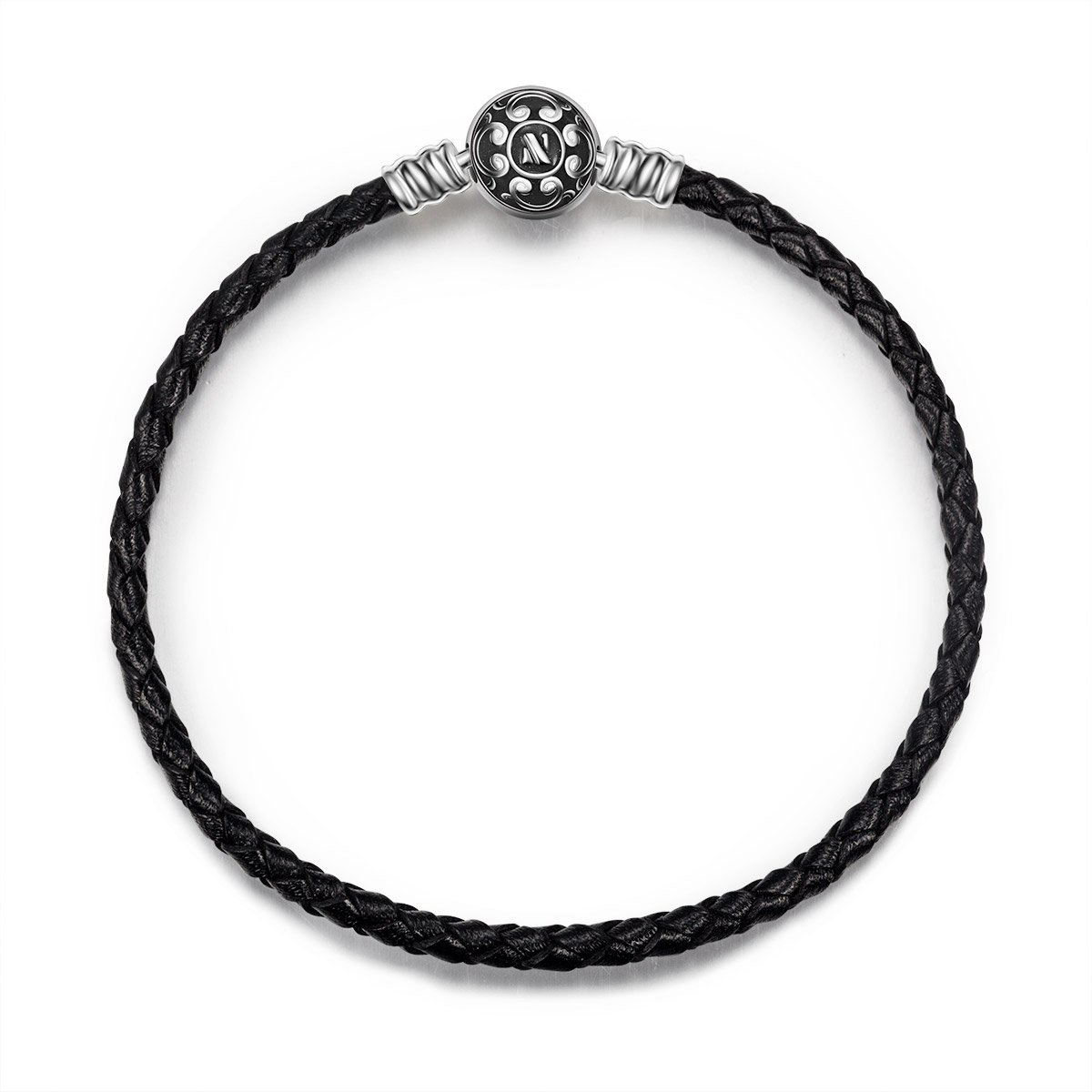 NINAQUEEN 7.5'' Black Genuine Leather Bracelet with 925 Sterling Silver Snap Clasp Charms, Birthday Anniversary Graduation Gifts for Her Wife Teen Girls Women DIY Bracelets for Charms
