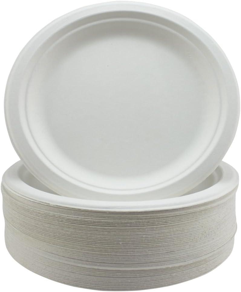 Súper Rígido Bagazo Platos Biodegradable y Desechable - Ecológico No Plástico Alternativa - Redondo Platos Fiesta Paquete de 50 9